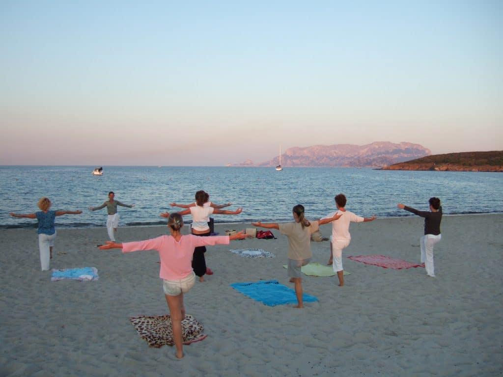 Pilates on beach